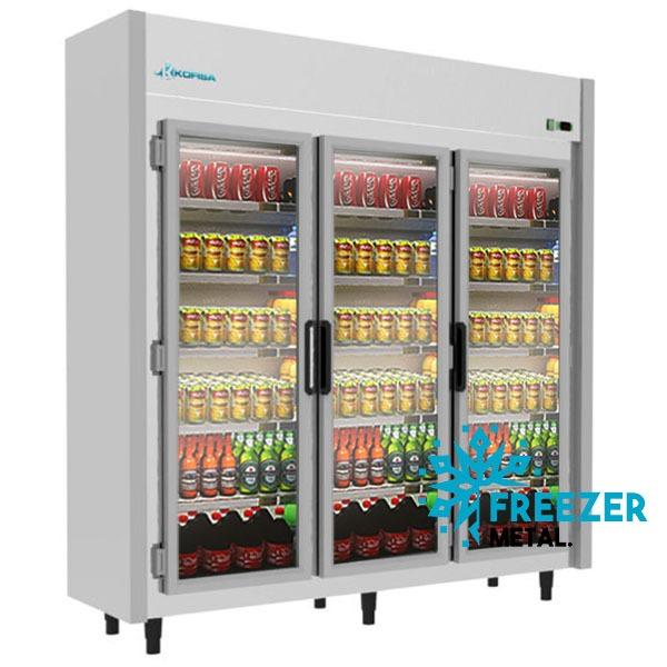 Expositor Refrigerado Auto Serviço 3 Portas 1.200 Litros Cinza Kofisa