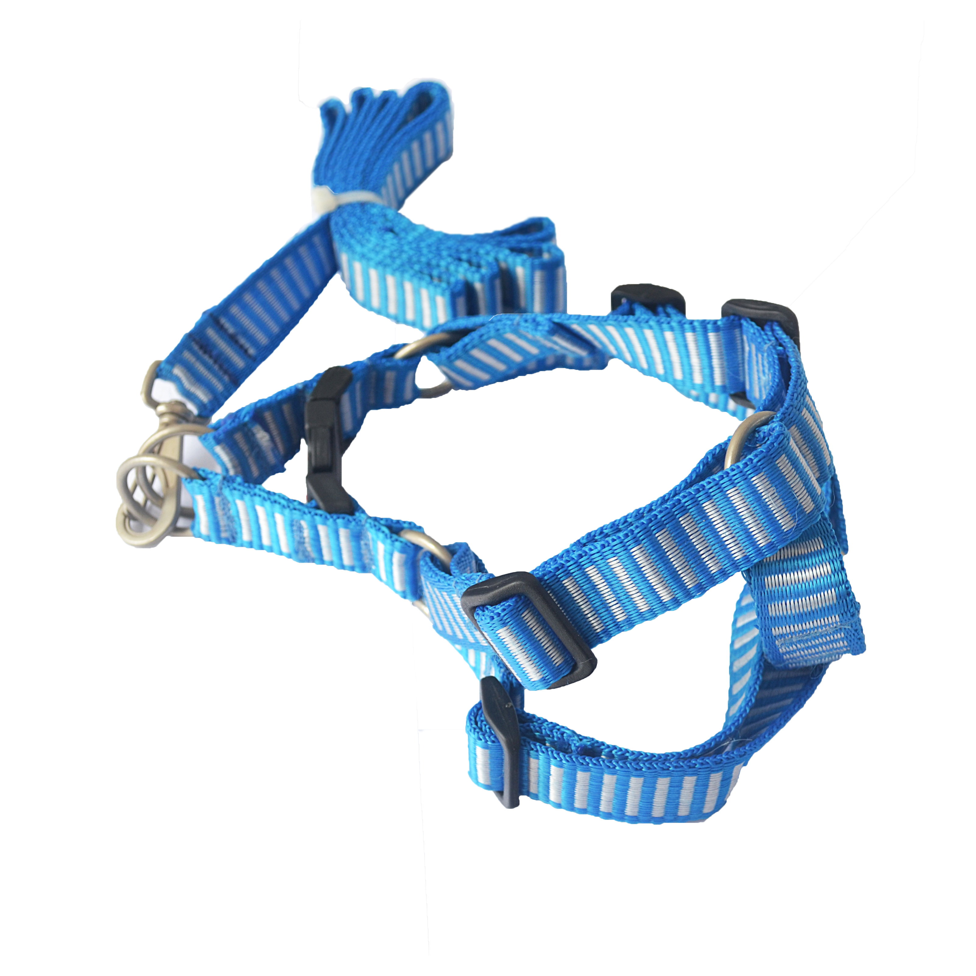 Peitoral ajustável com Guia blue & white - mundodaspataspet.com.br