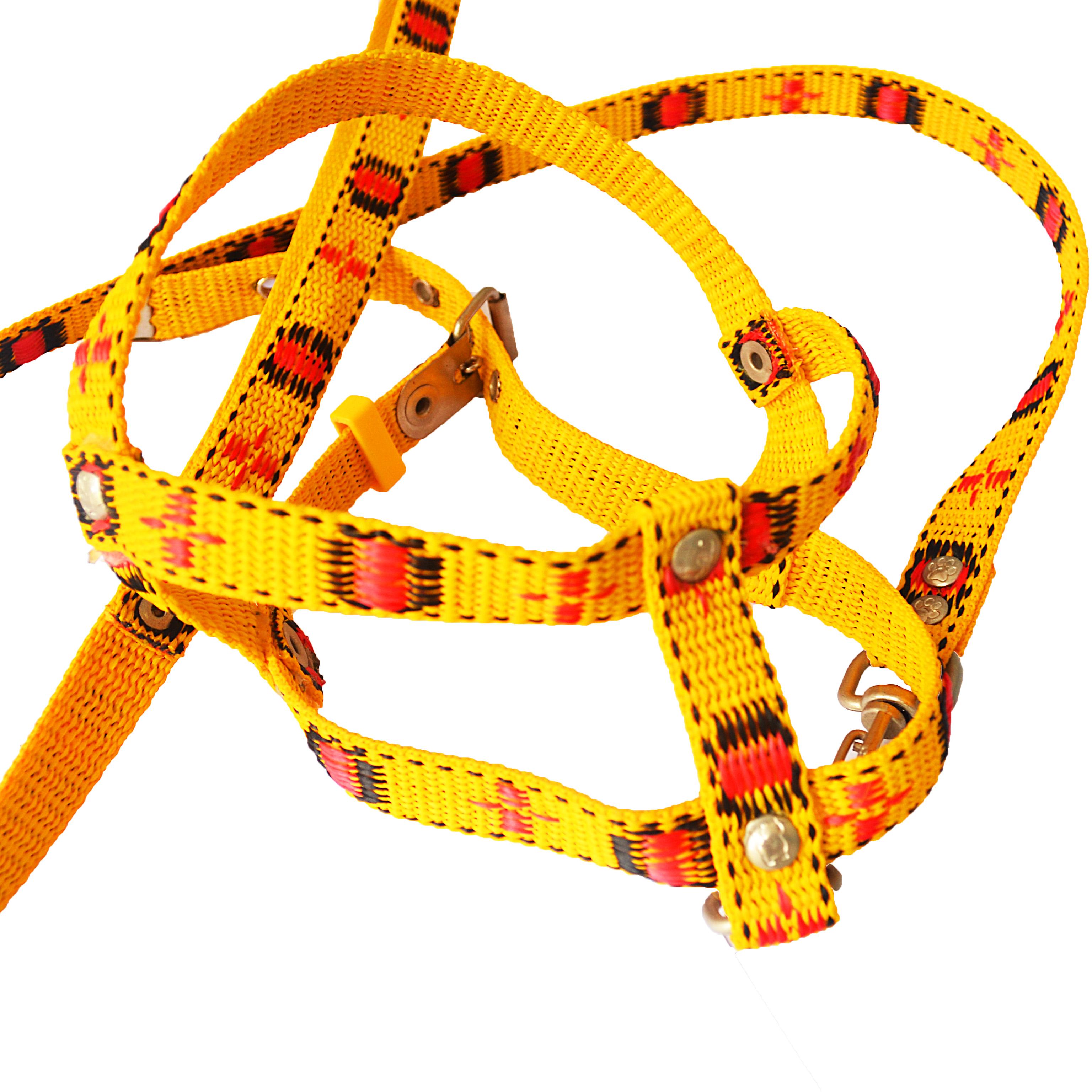Peitoral com Guia tiras médias pequeno porte yellow & red