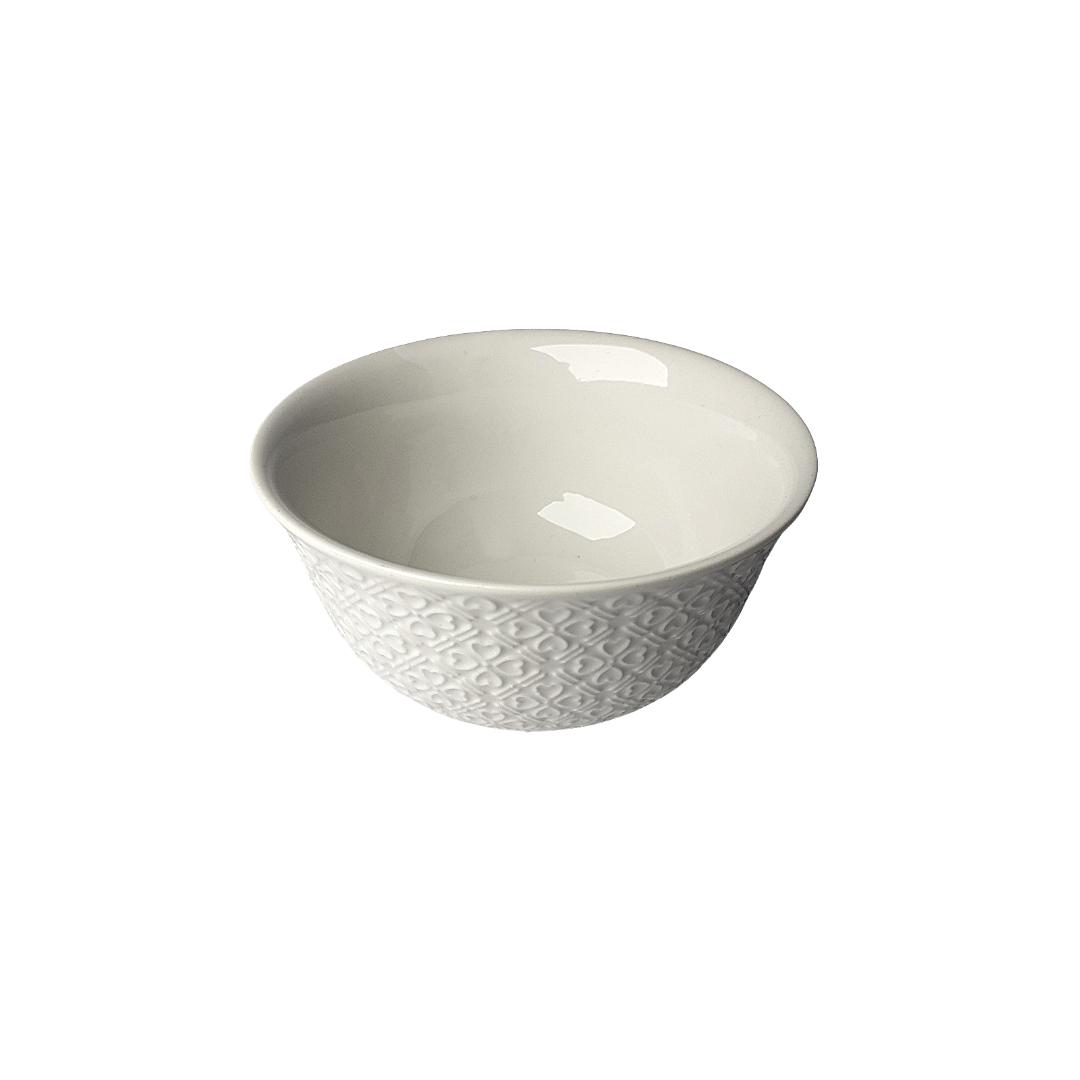 Bowl porcelana branco detalhes em coração - eshop.doccashop.com.br