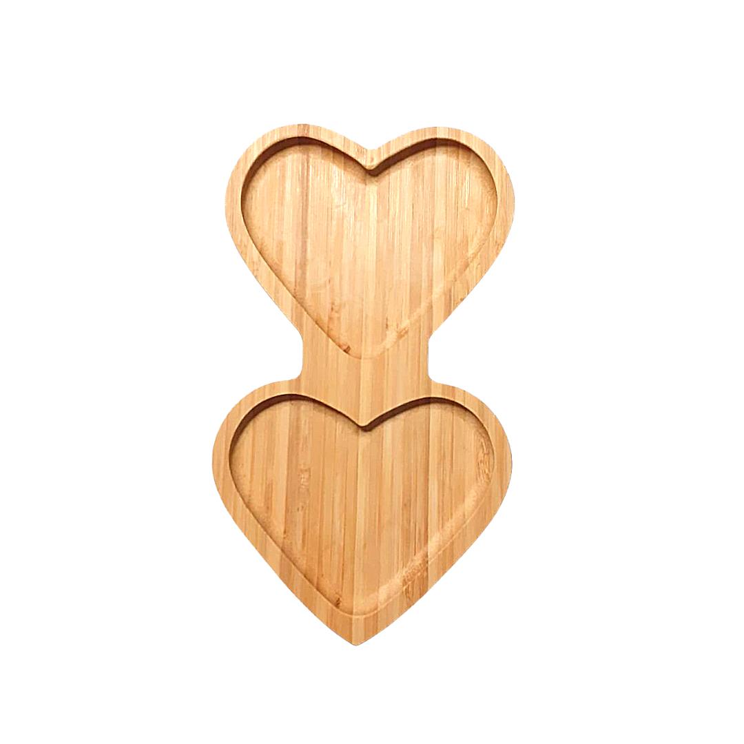 Bandeja de bambu formato 2 corações