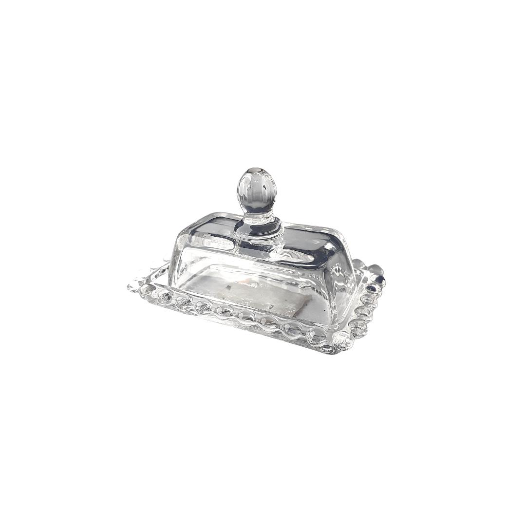Mini manteigueira de vidro bolinhas