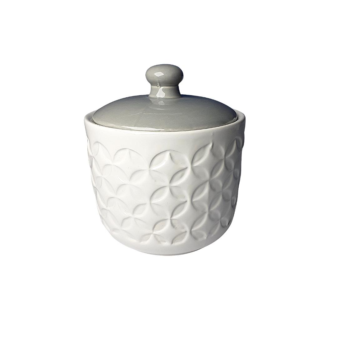Potinho ceramica branco e cinza