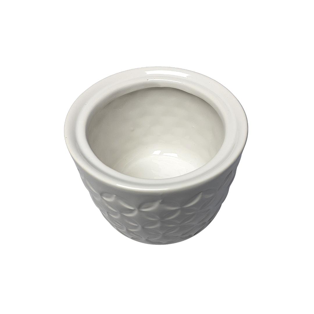 Potinho ceramica branco e cinza - eshop.doccashop.com.br
