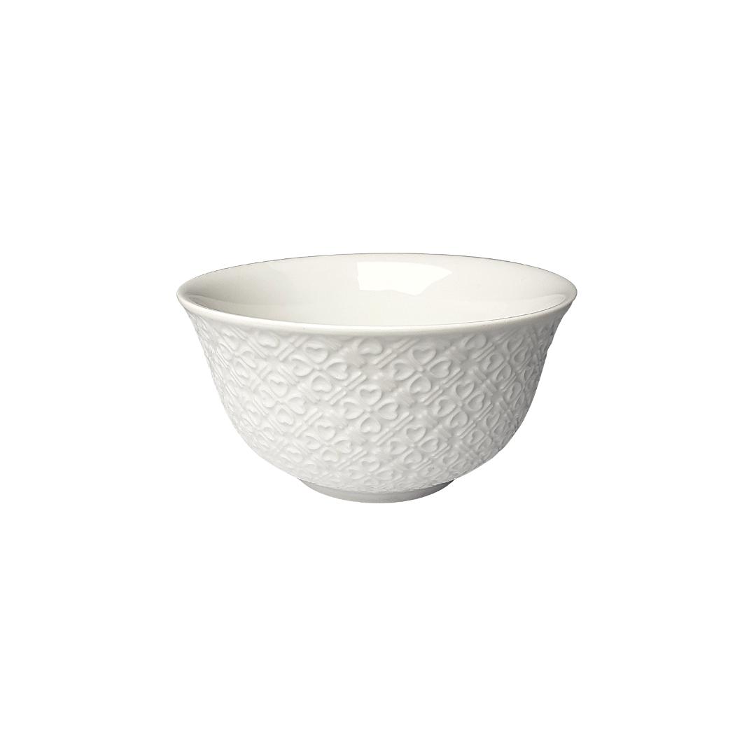 Bowl porcelana branco detalhes em coração