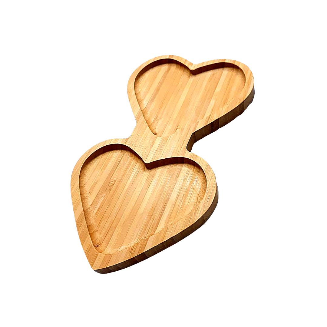 Bandeja de bambu formato 2 corações - eshop.doccashop.com.br