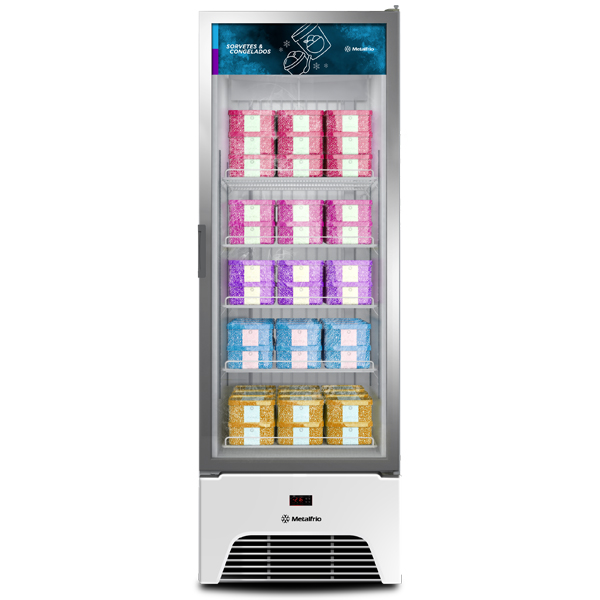 Freezer congelados Optima – Expositor Vertical Metalfrio  572 litros VF50 - geladeirasecervejeiras.com.br